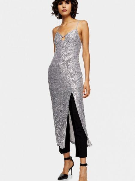 Вечернее платье серебряный весеннее Topshop