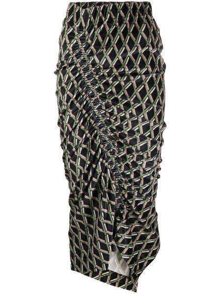 Черная с завышенной талией юбка миди с разрезом Preen By Thornton Bregazzi