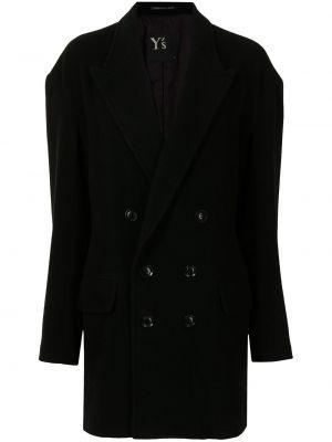 Черное пальто с карманами Y's