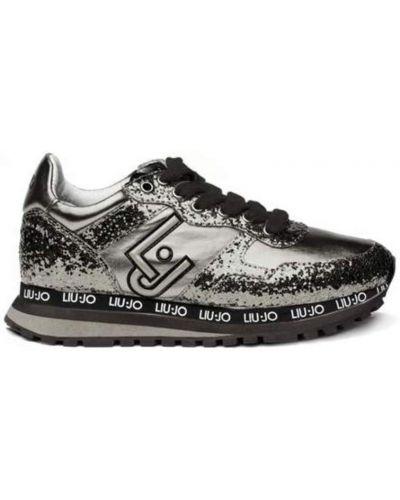 Szare sneakersy srebrne z cekinami Liu Jo