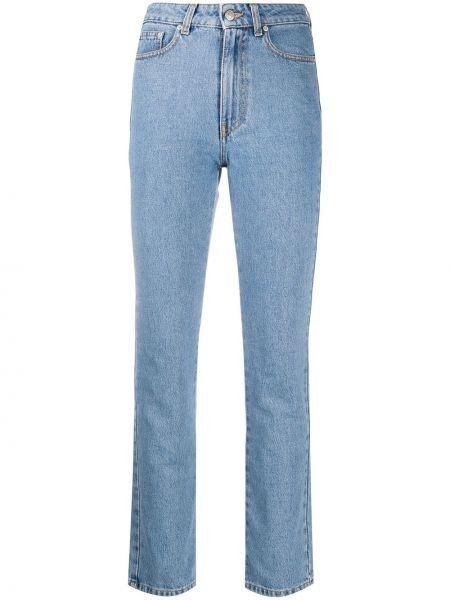 Хлопковые синие джинсы с высокой посадкой с вышивкой с карманами Chiara Ferragni