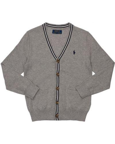 Prążkowany kardigan z haftem bawełniany Ralph Lauren