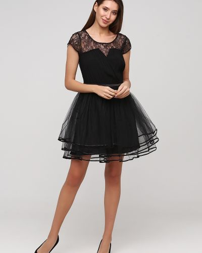 Кружевное вечернее платье - черное Naf Naf