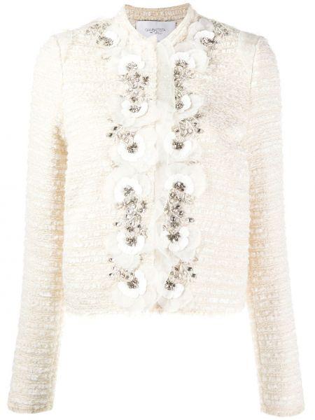 Пиджак твидовый с жемчугом с потайной застежкой Giambattista Valli