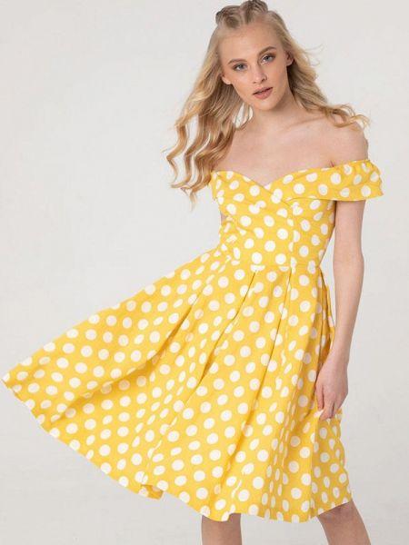 Желтое платье с открытыми плечами Lmp