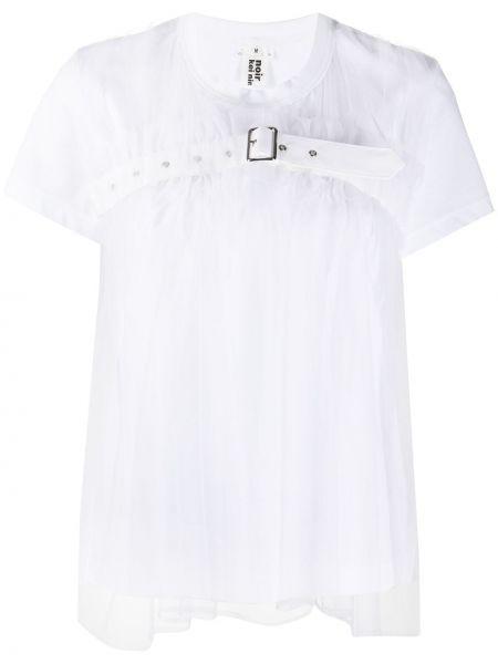 Белая нейлоновая футболка с круглым вырезом круглая Comme Des Garçons Noir Kei Ninomiya