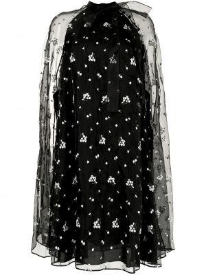 Czarna sukienka ze stójką Erdem