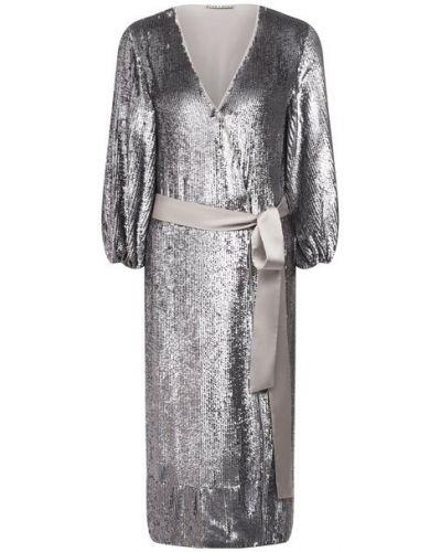 Платье с пайетками - серебряное Alice + Olivia