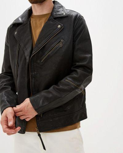 Кожаная куртка черная осенняя Selected Homme