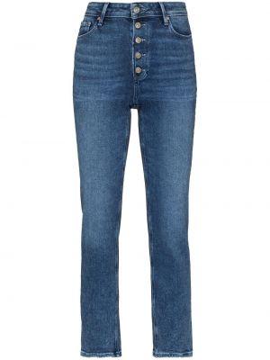 Хлопковые облегающие синие укороченные джинсы Paige