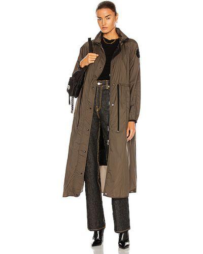 Пуховое пальто с капюшоном милитари Moncler