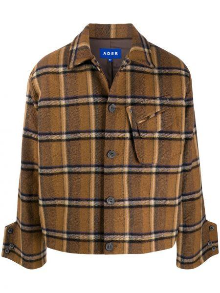 Klasyczny wełniany długi płaszcz z kołnierzem z kieszeniami Ader Error