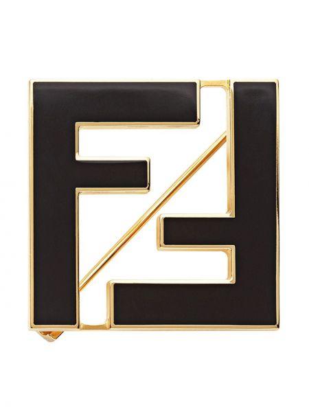 Черная брошь металлическая позолоченная Fendi