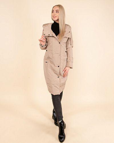 Пальто с капюшоном - бежевое Dizzyway