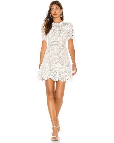Biała sukienka koronkowa z gipiury Saylor