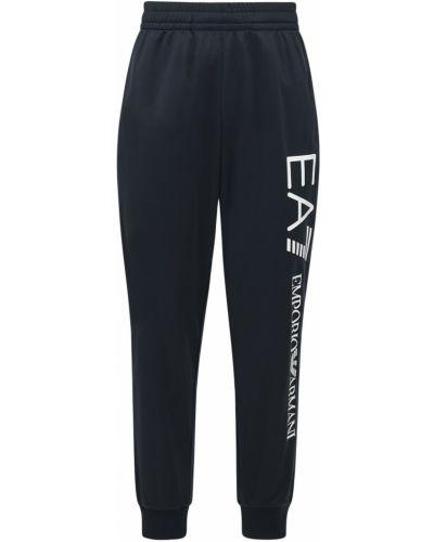 Синие спортивные спортивные брюки с завязками эластичные Ea7 Emporio Armani