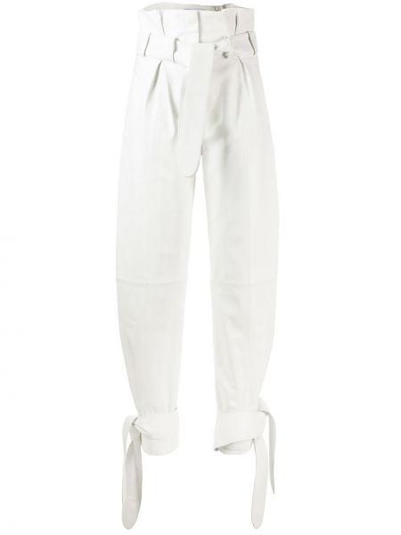 Spodnie z wysokim stanem skorzane z paskiem Attico