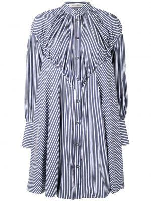 Синее расклешенное платье с рукавами на пуговицах с воротником Palmer / Harding