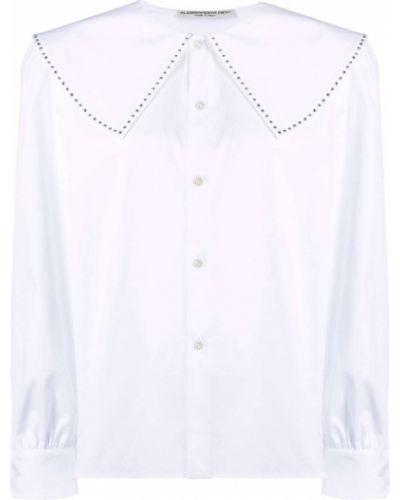 Biała koszula bawełniana z długimi rękawami w szpic Alessandra Rich