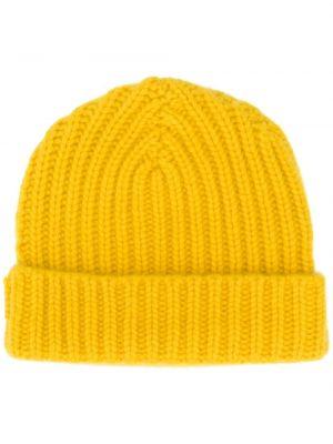 Кашемировая желтая теплая шапка бини в рубчик Warm-me