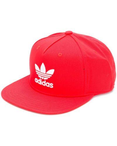 Красная хлопковая кепка с логотипом Adidas