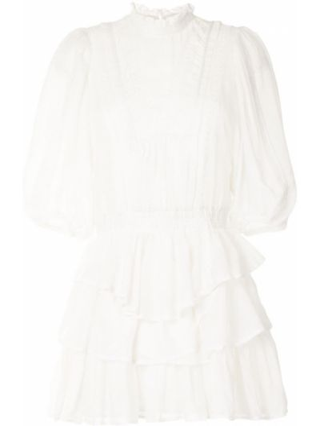 Белое ажурное платье мини круглое с круглым вырезом Iro