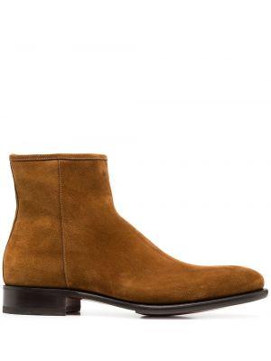 Коричневые кожаные ботинки на молнии Santoni