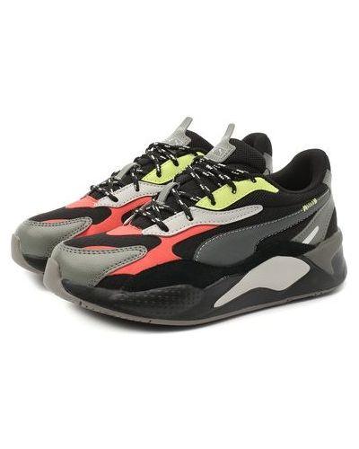 Кожаные черные кроссовки сетчатые Puma