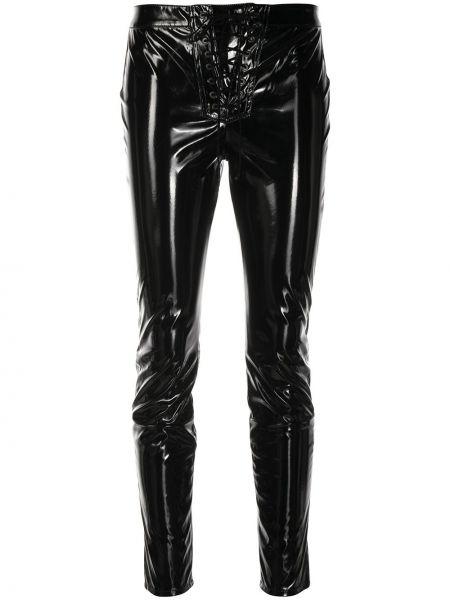 Кожаные черные укороченные брюки с высокой посадкой на шнуровке Unravel Project