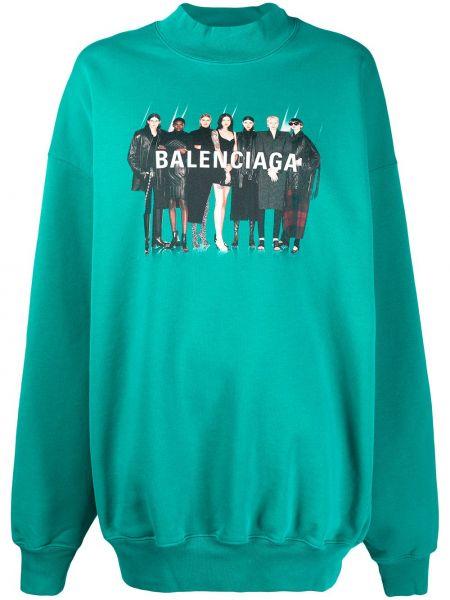 Zielony bawełna bluza z długimi rękawami okrągły dekolt Balenciaga