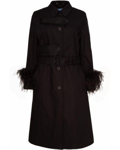 Пальто трапеция с воротником Prada