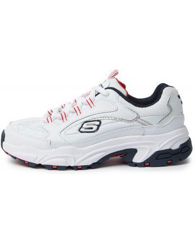 Кожаные белые кроссовки на шнуровке Skechers