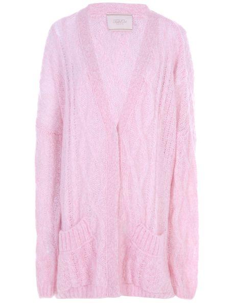 Розовый вязаный кардиган оверсайз с поясом из мохера Tak.ori