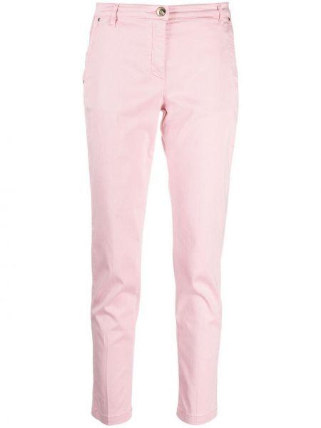 Хлопковые розовые с завышенной талией брюки Jacob Cohen