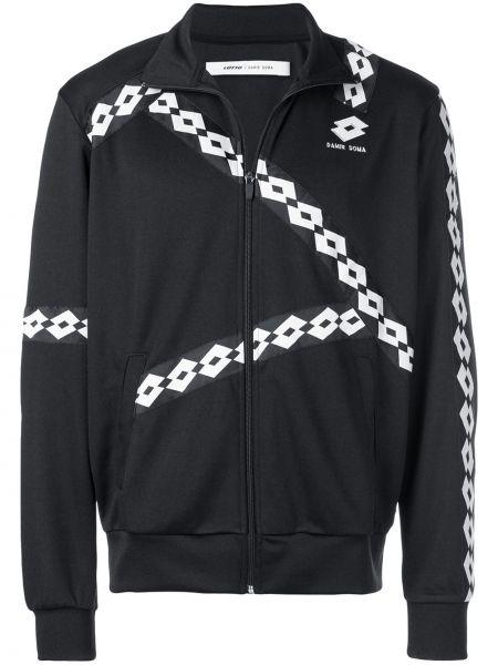 Czarna długa kurtka z haftem z długimi rękawami Damir Doma