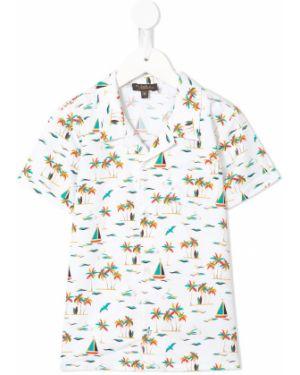 Biała koszula krótki rękaw bawełniana Velveteen