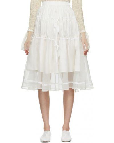 Ватная белая юбка из поплина Renli Su
