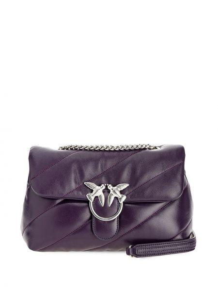 Фиолетовая стеганая кожаная сумка через плечо Pinko