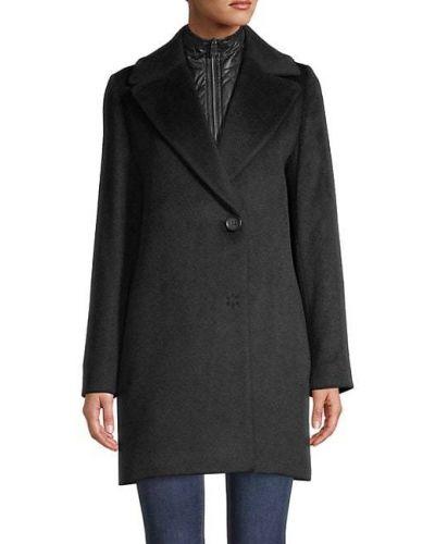 Шерстяное черное длинное пальто с воротником Cinzia Rocca