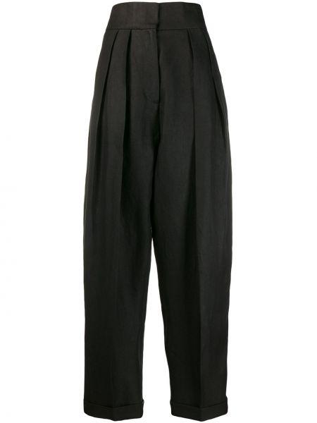 Spodnie z wysokim stanem czarne z kieszeniami Mrz