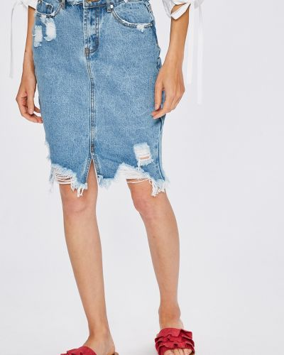 Юбка миди джинсовая на пуговицах Missguided