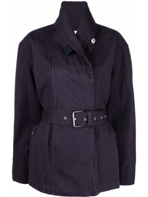 Хлопковая фиолетовая ватная длинная куртка Isabel Marant étoile