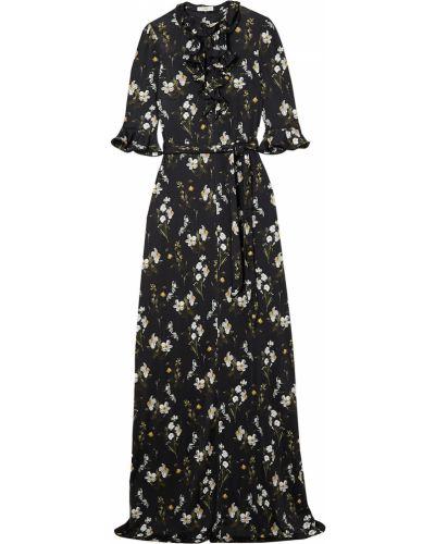 Czarna sukienka z paskiem z wiskozy Erdem