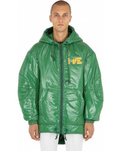Zielona kurtka z kapturem z nylonu Haervaerk