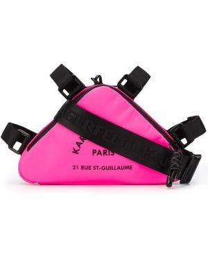 Кожаная сумка через плечо розовый Karl Lagerfeld