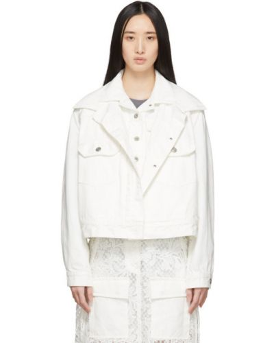 С рукавами белая джинсовая куртка с воротником Sacai