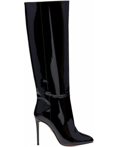 Кожаные сапоги высокие на каблуке Aquazzura