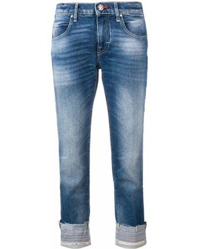 Синие прямые укороченные брюки с поясом Jacob Cohen