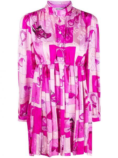 Платье с поясом розовое на пуговицах Balenciaga