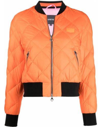 Оранжевый пуховик с перьями на молнии Duvetica